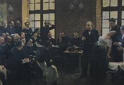 ヒステリーについて、臨床講義を行うシャルコー(Jean-Martin Charco医師)(1887年)